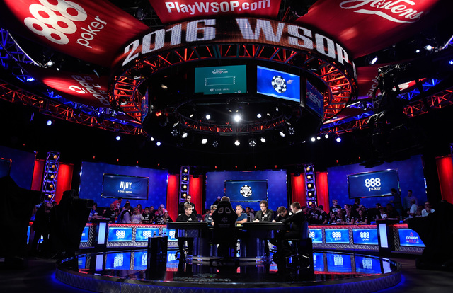 Six players remain during the final table of the Main Event at the World Series of Poker at the Rio hotel-casino, Sunday, Oct. 30, 2016, in Las Vegas. David Becker/Las Vegas Review-Journal Follow  ...