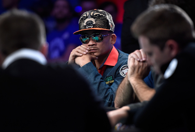 Qui Nguyen of Las Vegas looks on during the final table of the Main Event at the World Series of Poker at the Rio hotel-casino, Sunday, Oct. 30, 2016, in Las Vegas. David Becker/Las Vegas Review-J ...