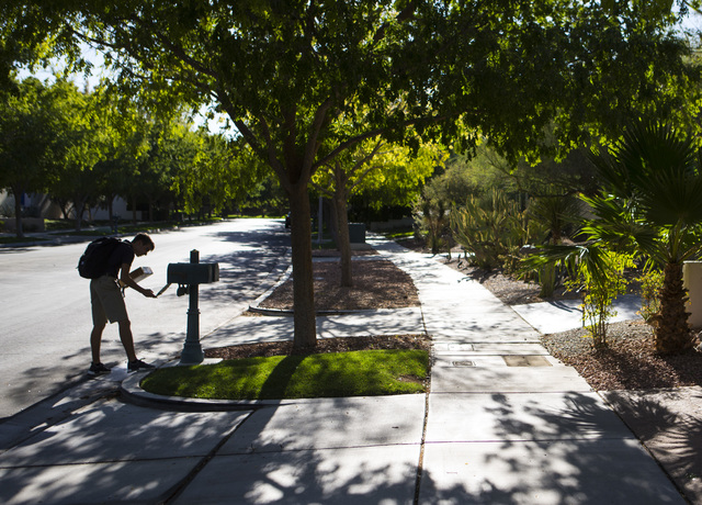 Sixteen-year-old Blake Wynn checks mail at his home in the Summerlin area of Las Vegas on Wednesday, Oct. 5, 2016. Chase Stevens/Las Vegas Review-Journal Follow @csstevensphoto