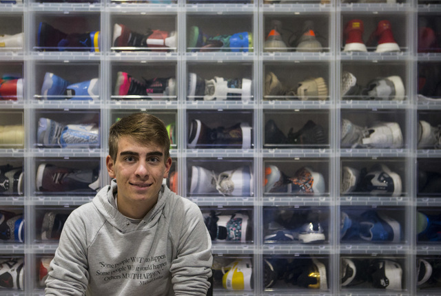 Sixteen-year-old Blake Wynn poses in front of some of his sneakers, which he sells and collects, at his home in the Summerlin area of Las Vegas on Wednesday, Oct. 5, 2016. Chase Stevens/Las Vegas  ...