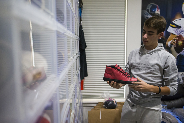 Sixteen-year-old Blake Wynn looks through his sneakers, which he sells and collects, at his home in the Summerlin area of Las Vegas on Wednesday, Oct. 5, 2016. Chase Stevens/Las Vegas Review-Journ ...
