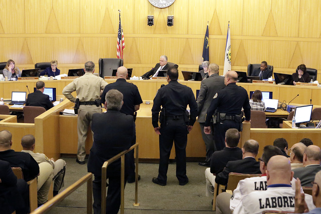 Clark County Sheriff Joe Lombardo, left, speaks during a County Commission meeting Tuesday, Nov. 15, 2016. Commissioners approved raising the county's sales tax next year to fund the hiring of mor ...