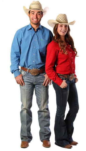 Seniors Jordan Siminoe and Kendra Cates of the UNLV rodeo team show how to dress like a cowboy ...