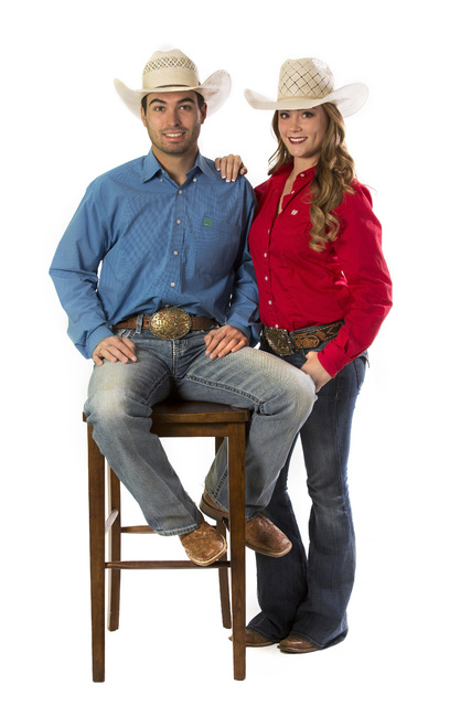 Seniors Jordan Siminoe and Kendra Cates of the UNLV rodeo team pose for a portrait on Friday, N ...