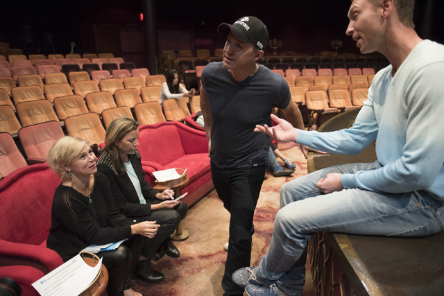 """One Night for One Drop"" creators Nicky Dewhurst, center, and Krista Monson, left, meet after auditions for the annual charity show ""One Night for One Drop"" at ""Zumanity"" Theater on Mo ..."