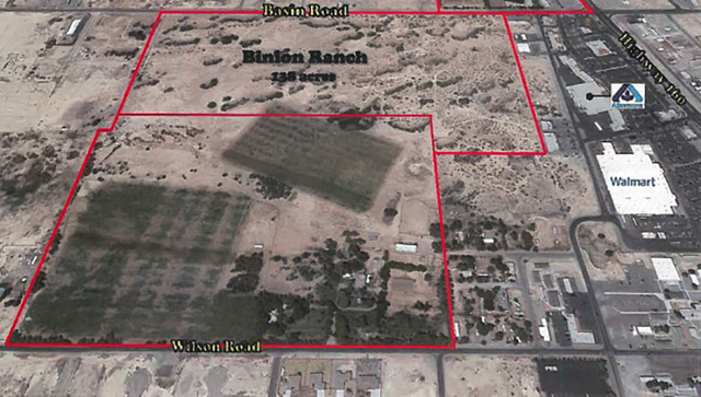 An outline of the 138-acre Binion Ranch, which was sold to a Las Vegas family for $1 million on Nov. 9. Ralph L. and Betty L. McKnight acquired the property between Wilson Road and Basin Avenue th ...