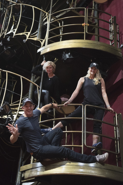 """One Night for One Drop"" creators Nicky Dewhurst, Krista Monson and Laetitia Dewhurst​ hang from the stage after auditions for the annual charity show at ""Zumanity"" Theater on Monday, Oc ..."