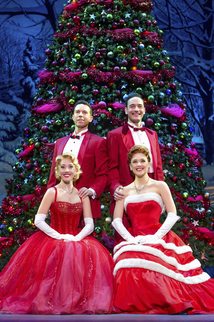 "Two showbiz teams -- Phil Davis and Bob Wallace (Jeremy Benton, Sean Montgomery), top, and Judy and Betty Haynes (Kelly Sheehan, Kerry Conte) -- find romance in ""White Christmas."" JEREMY DANIEL/CO ..."