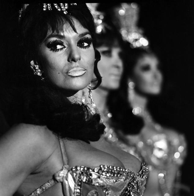 "Principal showgirl Felicia Atkins joins fellow ""Folies Bergere"" cast members onstage at the Tropicana in 1969. (Joe Buck/Las Vegas News Bureau)"