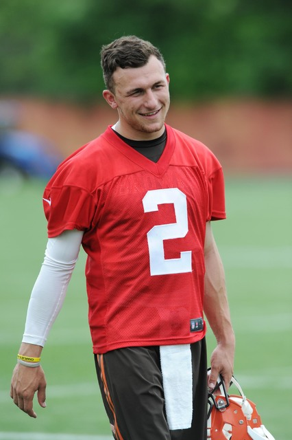 May 26, 2015; Berea, OH, USA; Cleveland Browns quarterback Johnny Manziel (2) during organized team activities at the Cleveland Browns training facility. (Ken Blaze/USA Today Sports)