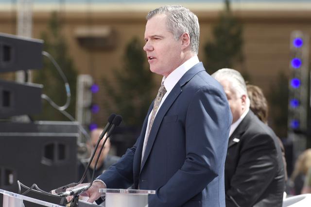 MGM Resorts International Chairman and CEO Jim Murren speaks during the grand opening of  T-Mobile Arena, April 6, 2016. (Sam Morris/Las Vegas News Bureau)