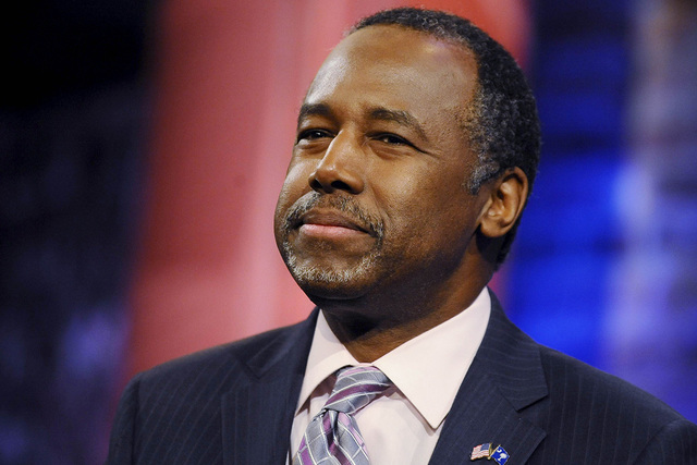 Republican U.S. presidential candidate Ben Carson appears during a commercial break in a campaign town hall hosted by CNN in Greenville, South Carolina in this February 17, 2016 file photo. (Raini ...