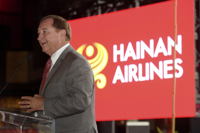 LVCVA President and CEO Rossi Ralenkotter speaks during a news conference to announce the first direct flight from Beijing to Las Vegas by Hainan Airlines Thursday, Aug. 4, 2016. (Sam Morris/Las V ...