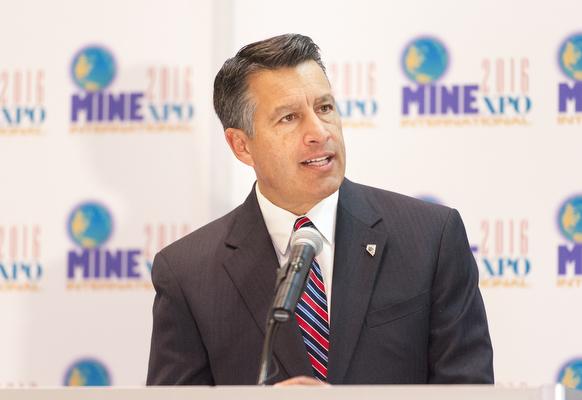 Nevada Gov. Brian Sandoval speaks at the opening of the MINExpo International mining equipment show at the Las Vegas Convention Center in Las Vegas on Monday, Sept. 26, 2016. (Mark Damon/Las Vegas ...
