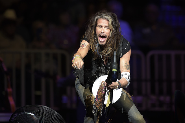 Steven Tyler performs before the fourth night of the PBR World Finals on Saturday, Nov. 5, 2016, at T-Mobile Arena in Las Vegas. (Sam Morris/Las Vegas News Bureau)