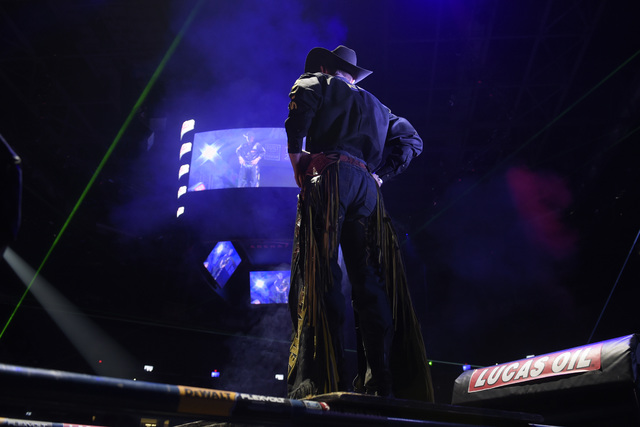 Jess Lockwood is introduced during the fourth night of the PBR World Finals on Saturday, Nov. 5, 2016, at T-Mobile Arena in Las Vegas. (Sam Morris/Las Vegas News Bureau)