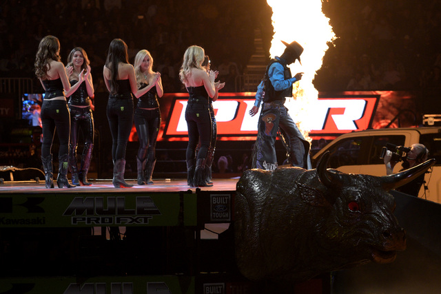 Bull riders are introduced during the fourth night of the PBR World Finals on Saturday, Nov. 5, 2016, at T-Mobile Arena in Las Vegas. (Sam Morris/Las Vegas News Bureau)