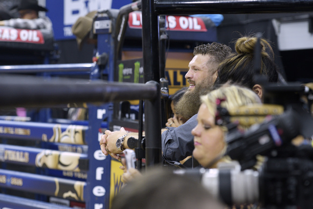 UFC heavyweight Roy Nelson watches the action during the fourth night of the PBR World Finals on Saturday, Nov. 5, 2016, at T-Mobile Arena in Las Vegas. (Sam Morris/Las Vegas News Bureau)