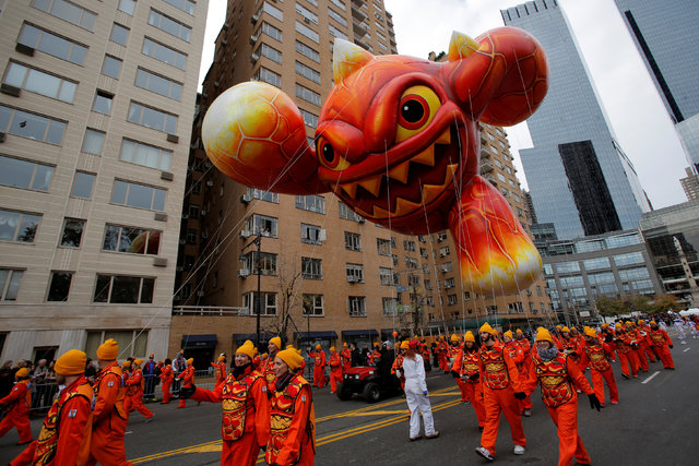 The Skylanders Eruptor balloon is carried down West 59th street during the 90th Macy's Thanksgiving Day Parade in Manhattan, New York, U.S., November 24, 2016.  REUTERS/Andrew Kelly