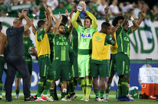 Players of Chapecoense celebrate after their match against San Lorenzo at the Arena Conda stadium in Chapeco, Brazil, Nov. 23, 2016.  (Paulo Whitaker/Reuters)