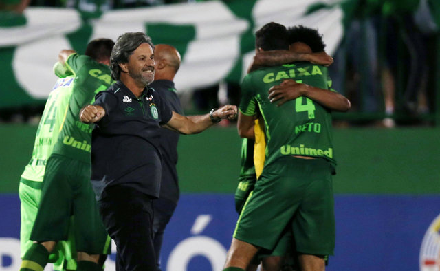Head coach Caio Junior of Chapecoense celebrates with his players after their match against San Lorenzo in the Copa Sudamericana at the Arena Conda stadium in Chapeco, Brazil, Nov. 23, 2016. (Paul ...