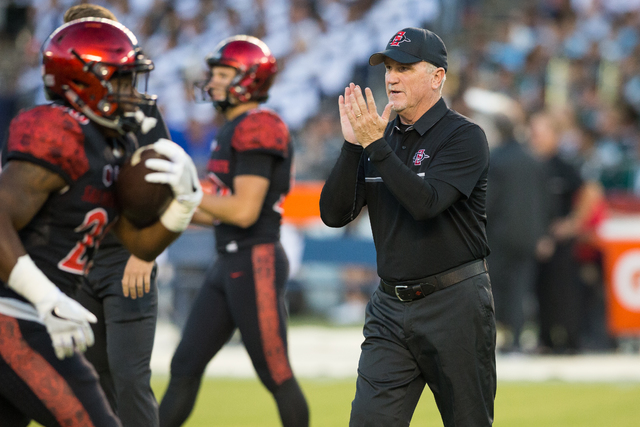 San Diego State assistant coach Jeff Horton directs players during the Aztecs' 45-40 victory over last month. (Derrick Tuscan/SDSU Athlete Media Relations)