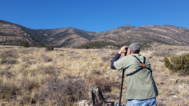 """""""Glassing"""" one of Nevada's mountain ranges for big game. Public lands provide plenty of opportunity for Nevada's outdoor enthusiasts. Photo by Doug Nielsen."""