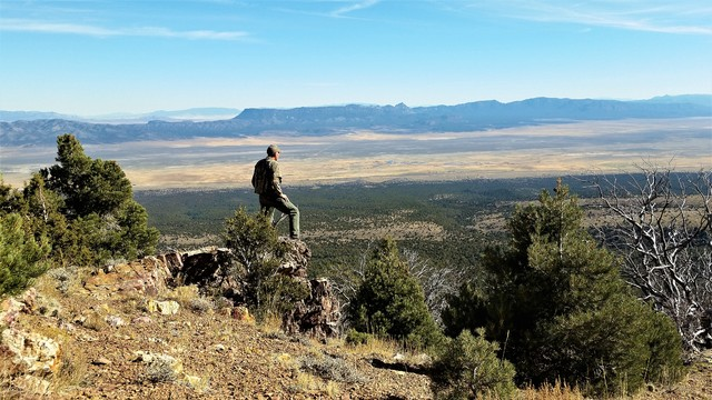 Taking in Nevada's wide open spaces from high atop a mountain overlook. Most of Nevada is publicly owned land, making access easy for outdoor enthusiasts. Photo by Doug Nielsen.