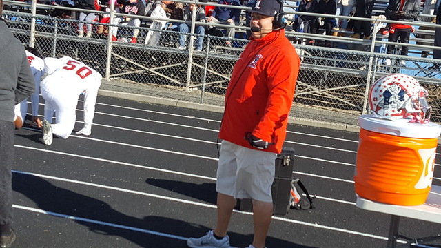 Liberty football coach Rich Muraco looks on prior to the start of Saturday's Class 4A state semifinal at McQueen High in Reno. The Patriots defeated Damonte Ranch, 30-27. (David Schoen/Las Vegas R ...