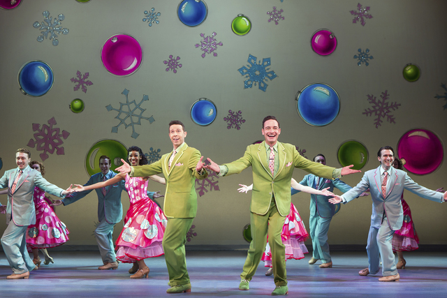 "Phil Davis (Jeremy Benton) and Bob Wallace (Sean Montgomery) wish audiences a ""Happy Holiday"" in ""White Christmas."" JEREMY DANIEL/COURTESY THE SMITH CENTER FOR THE PERFORMING ARTS"