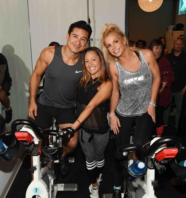 Mario Lopez, Jen Barnet and Britney Spears at X Cycle on Thursday, Oct. 27, 2016, in Boca Park. (Courtesy)