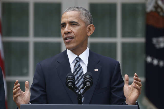 President Barack Obama speaks about the election, Wednesday, Nov. 9, 2016, in the Rose Garden of the White House in Washington. (Pablo Martinez Monsivais/AP)