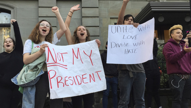 Several dozen students from various high schools in the Portland, Ore., metropolitan area gather downtown to protest Republican nominee Donald Trump's victory in Tuesday's presidential elec ...