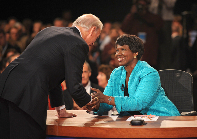 PBS journalist and debate moderator Gwen Ifill and then-Democratic vice presidential nominee, Sen. Joe Biden, D-Del., shake hands at the end of his vice presidential debate with Republican rival,  ...