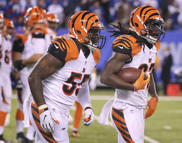 Cincinnati Bengals cornerback Dre Kirkpatrick (27) jogs off the field with outside linebacker Vontaze Burfict (55) after intercepting a pass against the New York Giants during the second quarter o ...