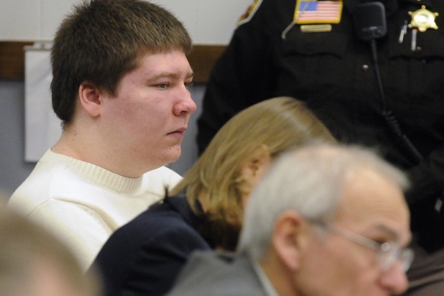 """Brendan Dassey, left, listens to testimony at the Manitowoc County Courthouse in Manitowoc, Wis. Dassey, whose homicide conviction was overturned in a case profiled in the Netflix series """"Making a ..."""