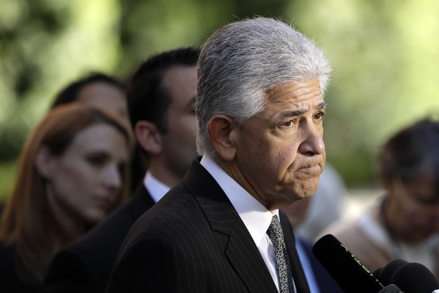 Daniel Petrocelli, lead attorney for President-elect Donald Trump, speaks after a hearing involving a lawsuit against the now-defunct Trump University Friday, Nov. 18, 2016, in San Diego. Trump ag ...