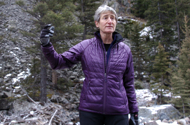 US Interior Secretary Sally Jewell talks about mining in the Absaroka Mountains near Pray, Mont., Monday, Nov.21, 2016.  Officials on Monday blocked new mining claims outside Yellowstone National  ...