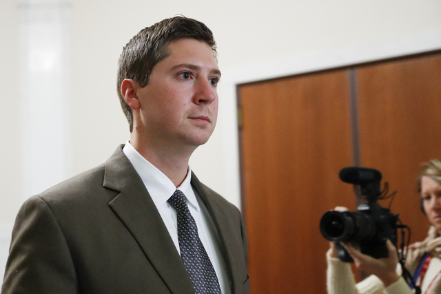 Former University of Cincinnati police officer Ray Tensing leaves court after the second day of jury deliberations in his murder trial in Cincinnati. (John Minchillo/AP)