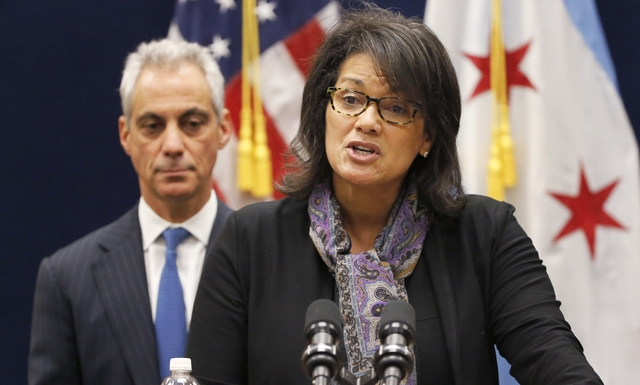 Sharon Fairley, newly-appointed leader of the Independent Police Review Authority, speaks Dec. 7, 2015, during a news conference in front of Chicago Mayor Rahm Emanuel in Chicago. (AP Photo/Charle ...