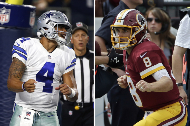 In an Oct. 30, 2016, file photo (left), Dallas Cowboys quarterback Dak Prescott (4) celebrates after scoring on a running play in the first half of an NFL football game against the Philadelphia Ea ...