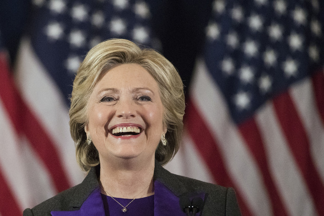 In this Nov. 9, 2016 file photo, Democratic presidential candidate Hillary Clinton speaks in New York, where she conceded her defeat to Republican Donald Trump after the hard-fought presidential e ...