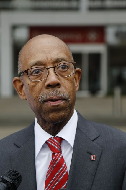 Ohio State University president Michael Drake speaks at a press conference following an attack on campus on Monday, Nov. 28, 2016, outside the Ohio State University Wexner Medical Center in Columb ...