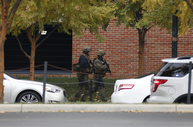 Law enforcement patrols outside of a parking garage after an attack on the campus of Ohio State University on Monday, Nov. 28, 2016, in Columbus, Ohio. (Jay LaPrete/AP)