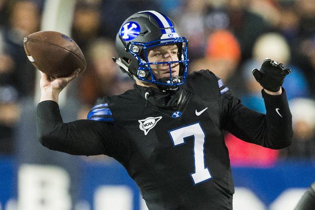 BYU quarterback Taysom Hill (7) throws the ball during an NCAA college football game against Utah State in Provo, Utah, Saturday, Nov. 26, 2016. (Rick Egan/The Salt Lake Tribune via AP)
