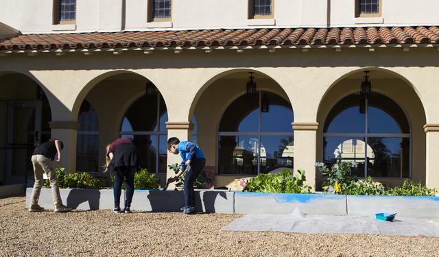 Faith Lutheran Middle Schoolճ students help paint a planter box at 9th Bridge School in downtown Las Vegas, on Friday, Nov. 18, 2016. Miranda Alam/Las Vegas Review-Journal Follow @miranda_alam