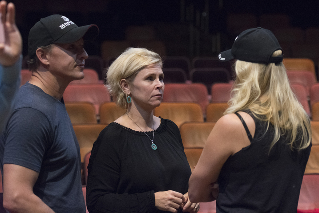 """One Night for One Drop"" creators Nicky Dewhurst, Krista Monson and Laetitia Dewhurst​ speak during auditions for the annual charity show at ""Zumanity"" Theater on Monday, Oct. 24, 2016,  ..."