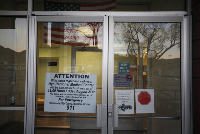 The front doors of the closed Nye Regional Medical Center is seen on Friday, Nov. 18, 2016, in Tonopah, Nev. Rachel Aston/Las Vegas Review-Journal Follow @rookie__rae