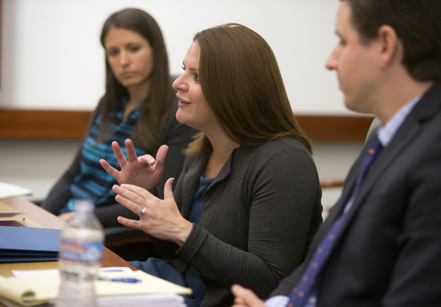 Nevada Achievement School District Superintendent Jana Wilcox Lavin, center, talks to the Las Vegas Review-Journal editorial board at the RJ offices Monday, Nov. 28, 2016. Achievement Deputy Direc ...
