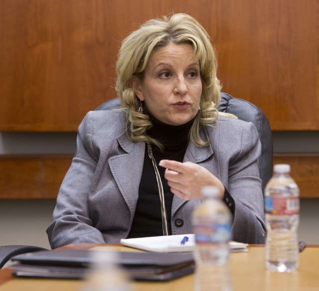 Nevada Achievement School District Deputy Superintendent Dena Durish talks to the Las Vegas Review-Journal editorial board at the RJ offices Monday, Nov. 28, 2016. (K.M. Cannon/Las Vegas Review-Jo ...